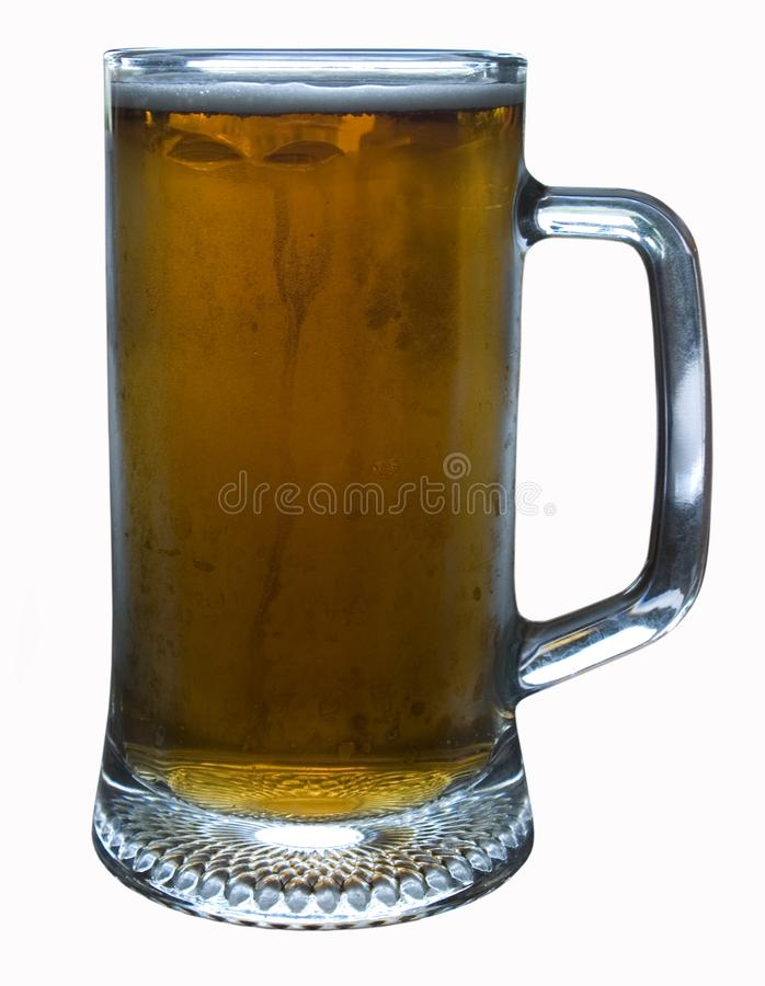 Faceted glass of light beer royalty free stock images
