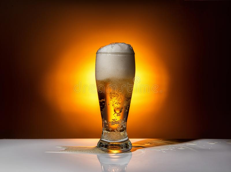 glass beer on light pub background, Oktoberfest concept royalty free stock photos