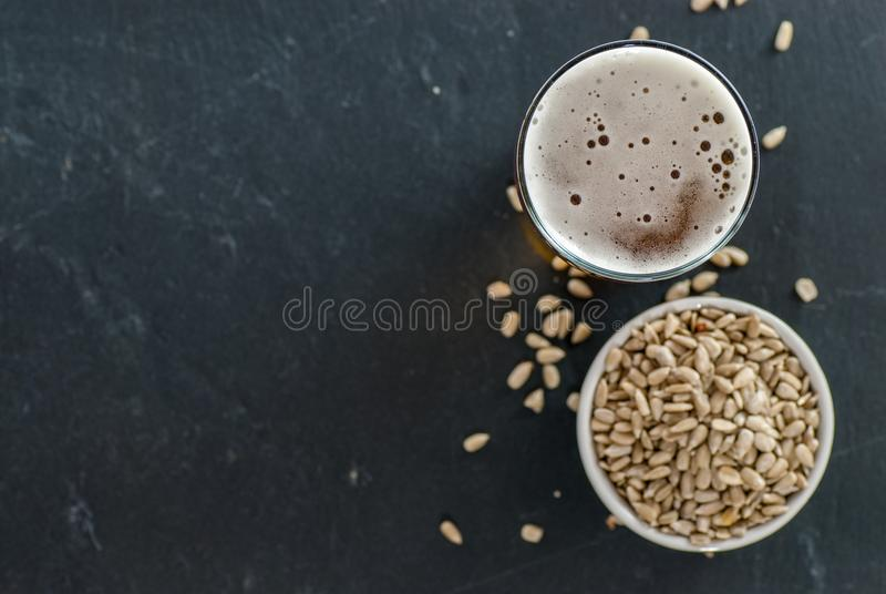 Glass of beer and roasted sunflower kernels on slate with copy space social drinking concept royalty free stock image