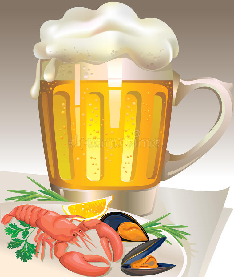Glass Of Beer With Seafood Royalty Free Stock Photo