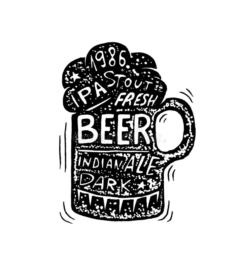 Glass of beer in vintage style. Alcoholic Label with calligraphic elements. Classic American badge for poster banner royalty free illustration