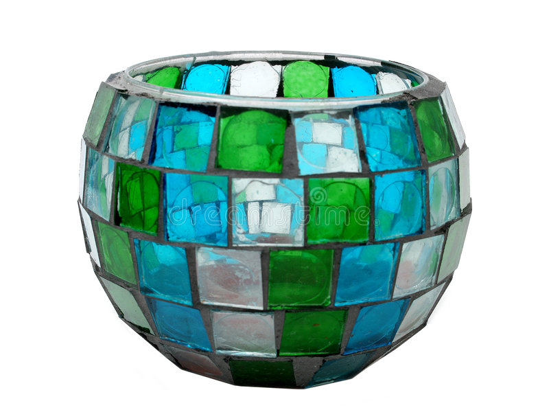 glass befläckt hållaremosaik för antikt stearinljus arkivfoton