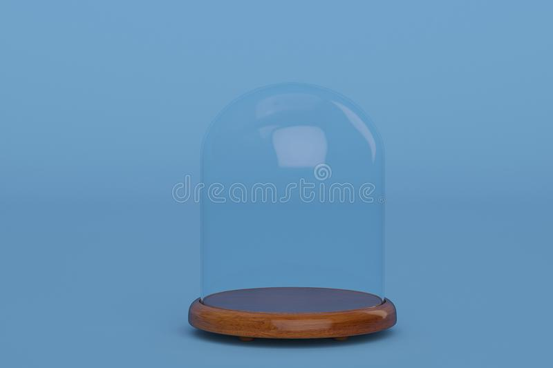 Glass bell with wooden base on blue background.3D illustration. Glass bell with wooden base on blue background. 3D illustration vector illustration