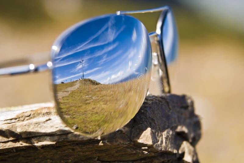 glass bergsun royaltyfri foto
