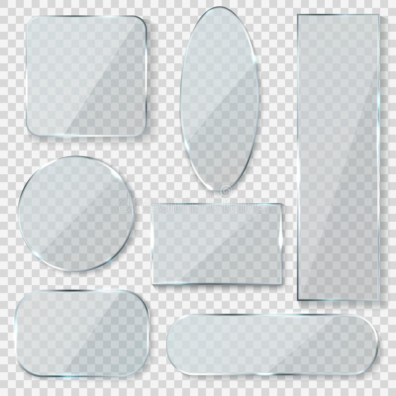 Glass blank banners. Rectangle circle glass texture window plastic clear labels with reflection acrylic shiny panels royalty free illustration