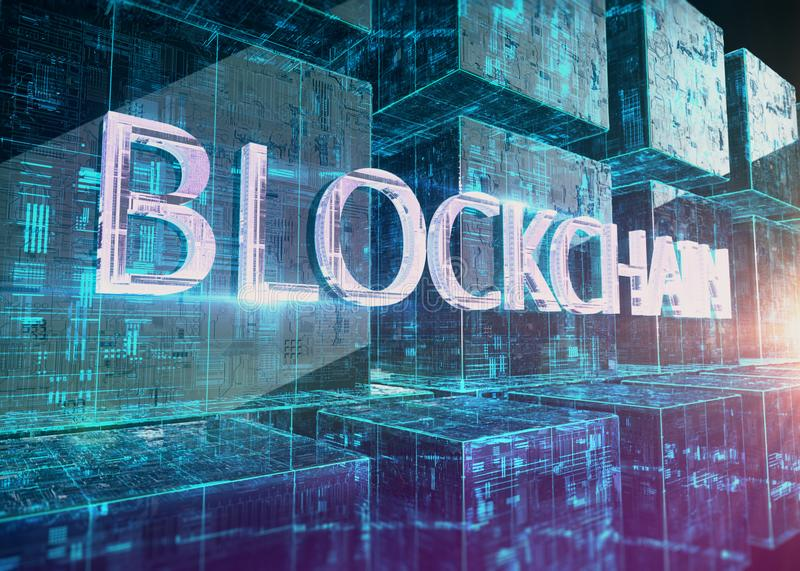 Glass block with glowing micro chips in them and word blockchain in front. New techologies 3d rendering illustration royalty free illustration