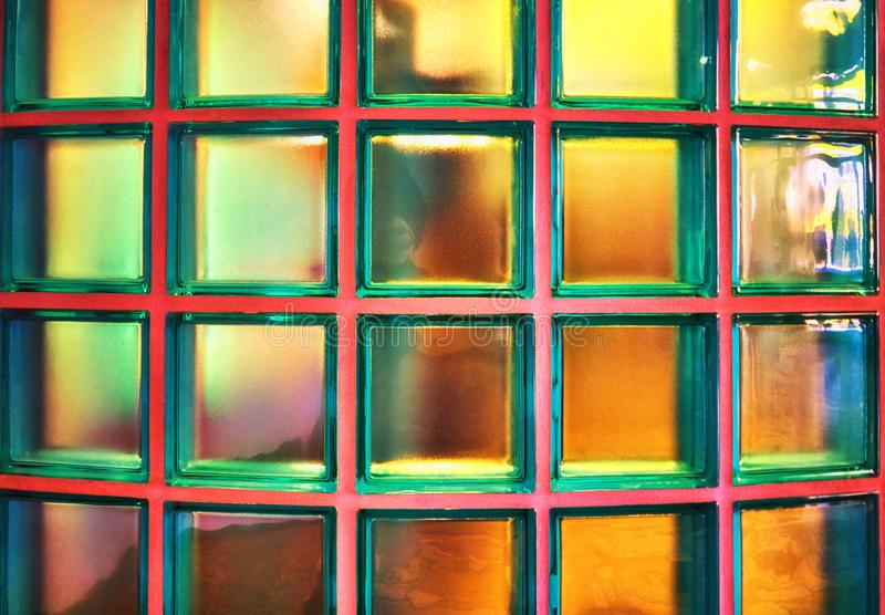 Glass blocks wall as abstract background stock photos