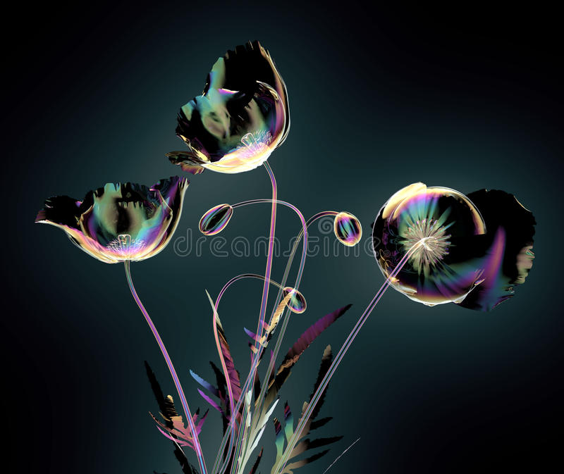 Glass blomma för färg som isoleras på svart, vallmo royaltyfri illustrationer