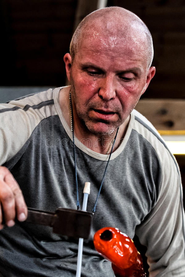 Glass blower. royalty free stock image