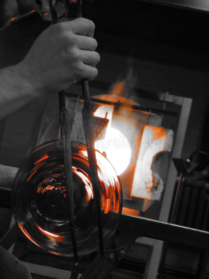 Glass blowing royalty free stock images