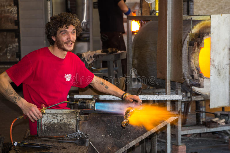 Glass blowing in Leerdam Holland stock photo