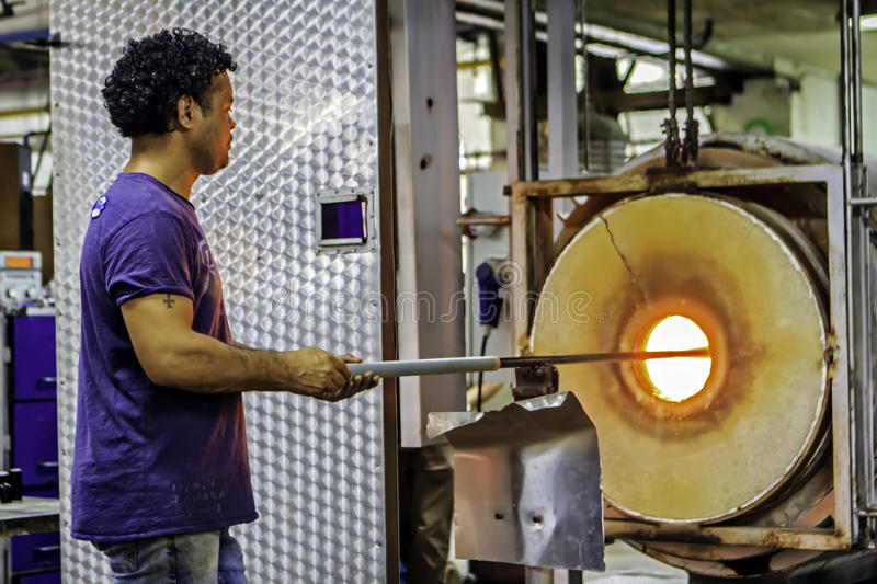 Glass Blowing, Leerdam, Netherlands. stock images