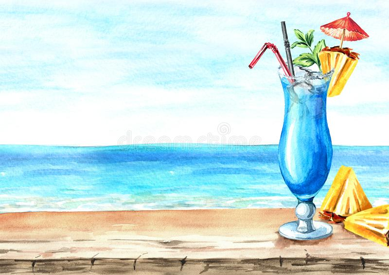 Glass of Blue Lagoon cocktail with decor on the background of the sea. Summer drink. Background with empty space for your text. Watercolor hand drawn royalty free illustration