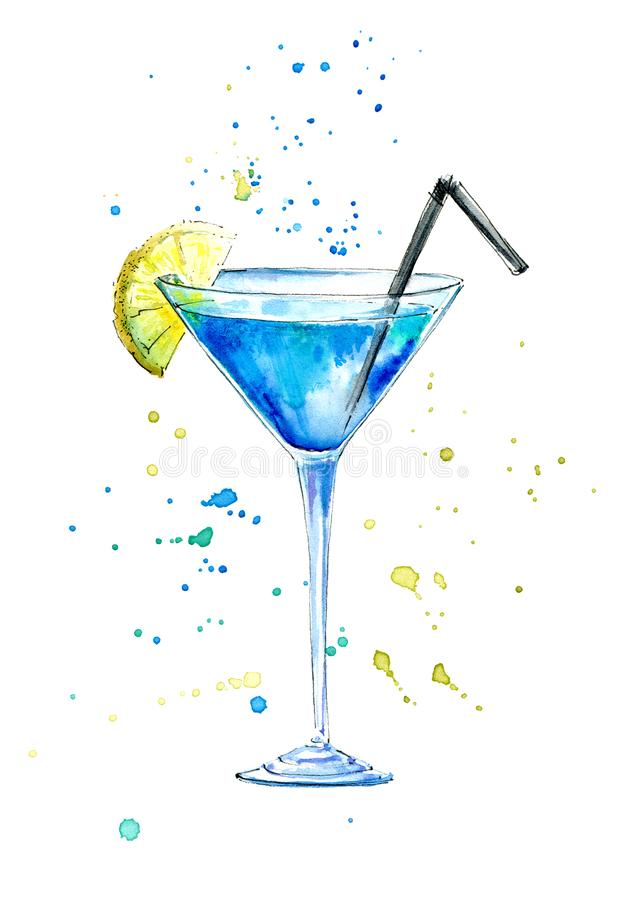 Glass of a Blue Lagoon cocktail and splash.Martini, liquor and vodka Ingredients . Picture of a alcoholic drink.Watercolor hand drawn illustration.White stock illustration