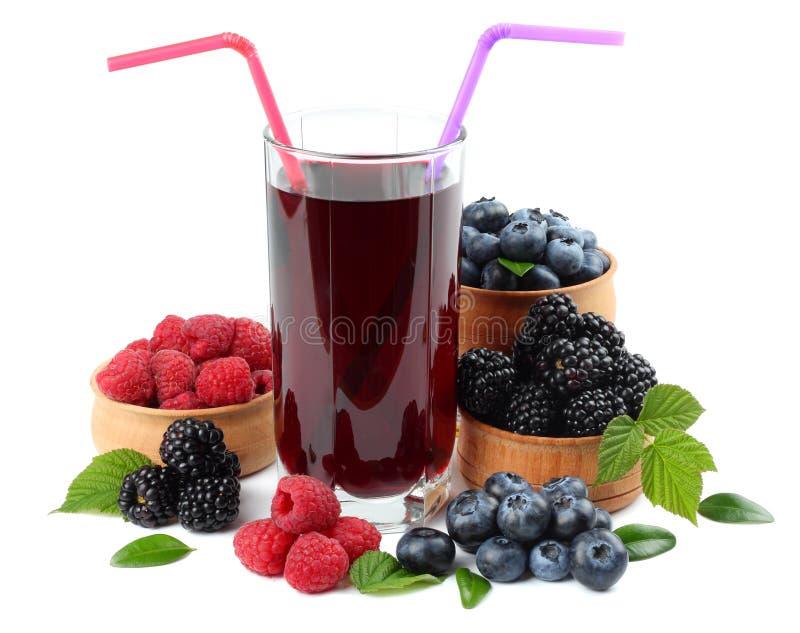 Glass Of Blueberry Juice Isolated On White Background  Stock Photo