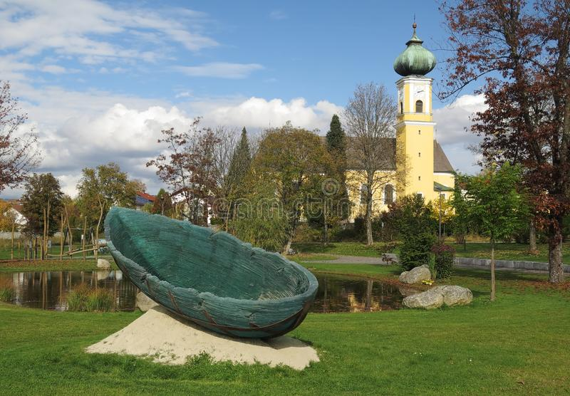Glass boat - ark in Frauenau in Bayerischer Wald. In Germany royalty free stock image
