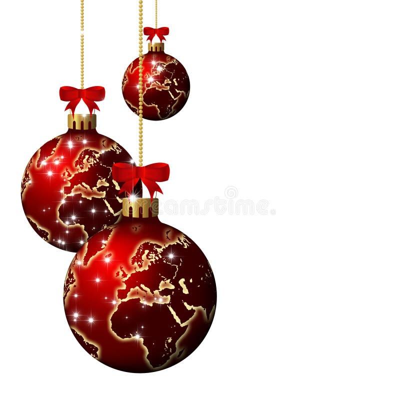 Glass bollar för jul med världsmodellen över vit bakgrund vektor illustrationer