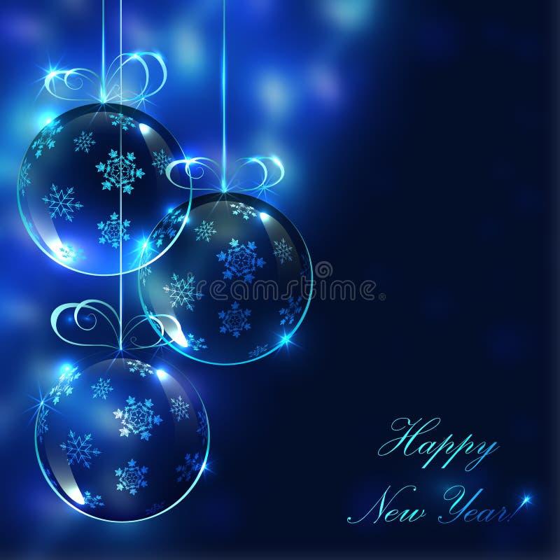 Glass bollar för jul på den oskarpa bakgrunden med ljus royaltyfri illustrationer
