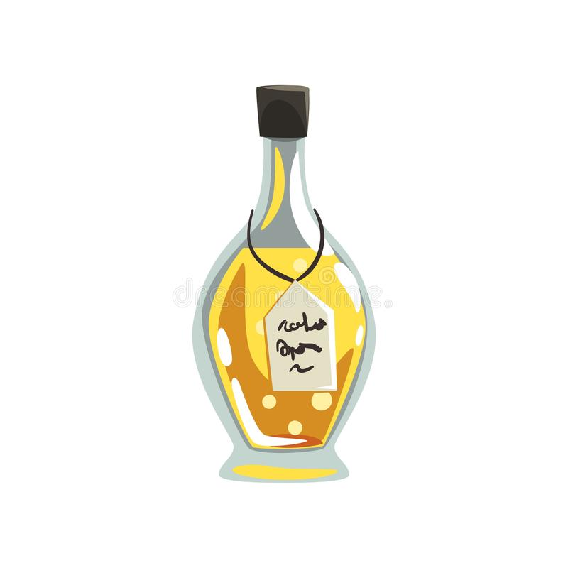 Glass bottle of aromatic oil. Yellow liquid for massage. Aromatherapy, cosmetics and spa theme. Vector design for. Glass bottle of aromatic oil. Vessel with vector illustration