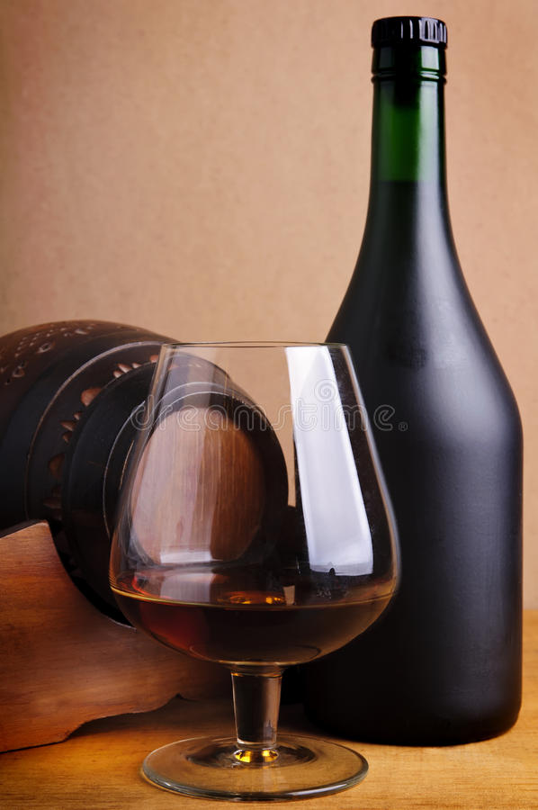 Download Glass, Bottle And Barrel Of Cognac Stock Image - Image: 17759907