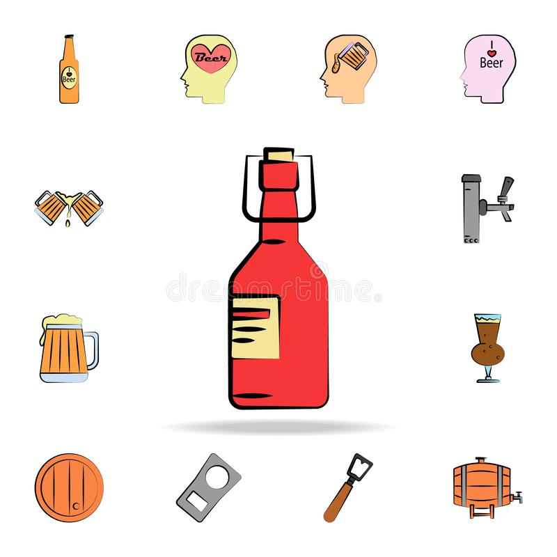 Glass bottle of beer colored sketch style icon. Detailed set of color beer in hand drawn style icons. Premium graphic design. One. Of the collection icons for royalty free illustration