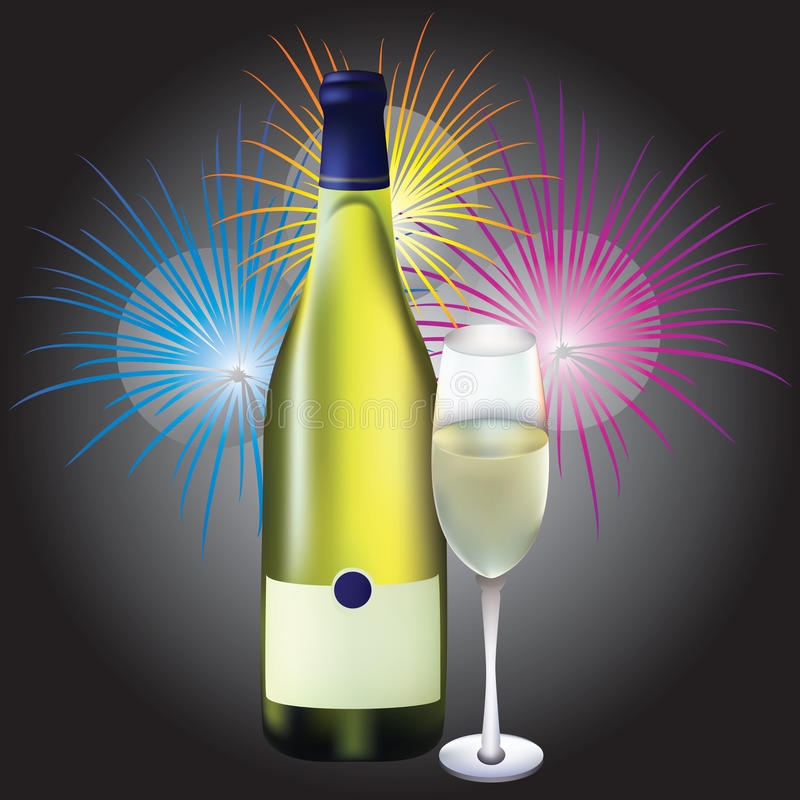 Glass and bottle of champagne and firew royalty free illustration