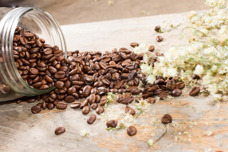 Glass bottle and coffee stock images