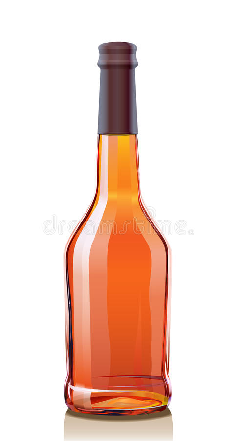 Glass Bottle for Cognac or Brandy. Illustration glass Bottle Cognac or Brandy. Serie of images stock illustration