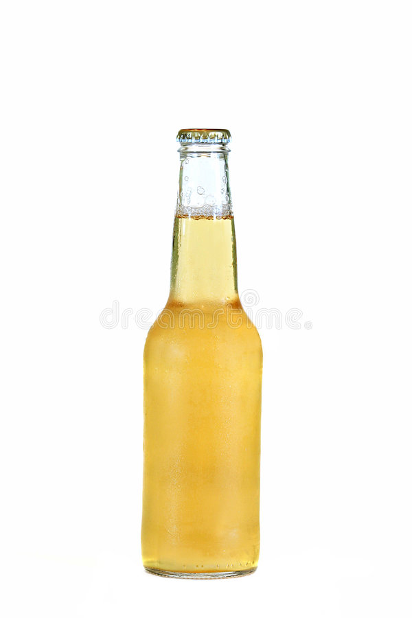 Glass bottle of cold beer. Isolated on white stock photography