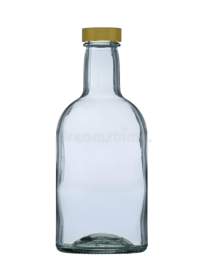 Glass bottle with a cover for brandy, cognac, rum, whisky isolated on a white background royalty free stock image