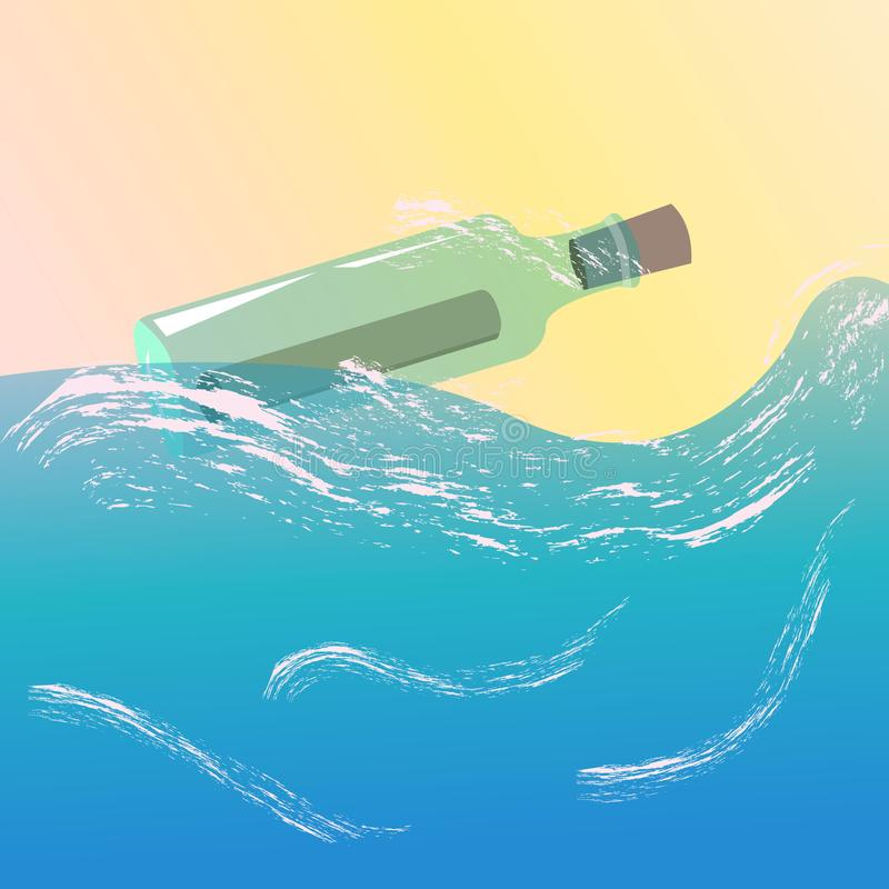 A glass bottle floating in the ocean with a message inside. Vector illustration. stock illustration