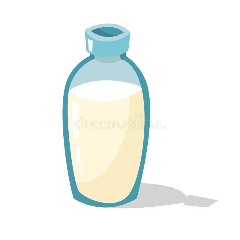 Glass bottle of fresh organic milk. Natural vector illustration