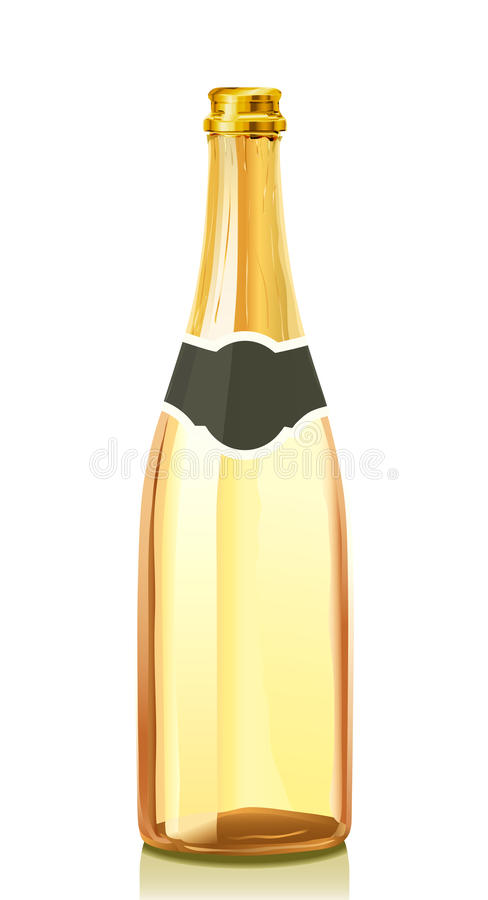 Glass bottle with gold Champagne wine vector illustration