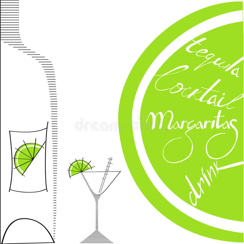 Glass with bottle and lime. Universal template for greeting card, web page, background vector illustration