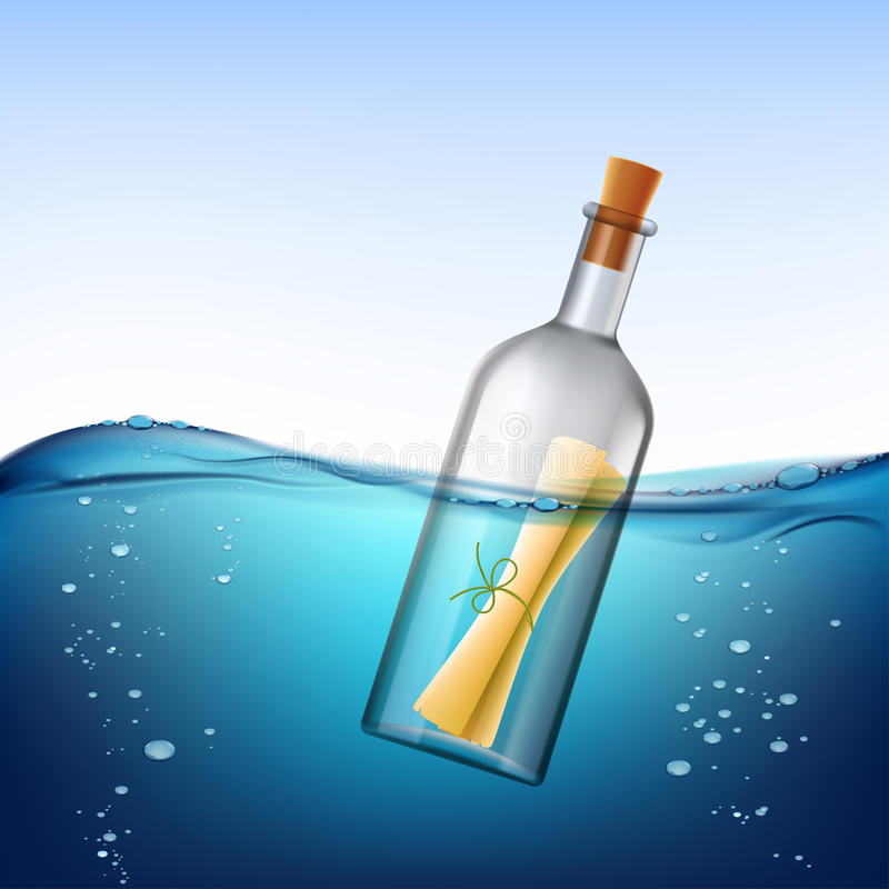 Glass bottle with message, floats in the water. Stock ill royalty free illustration