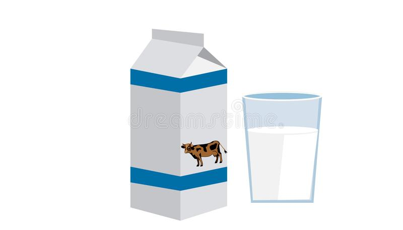 A glass and a bottle of milk with a cow stock illustration