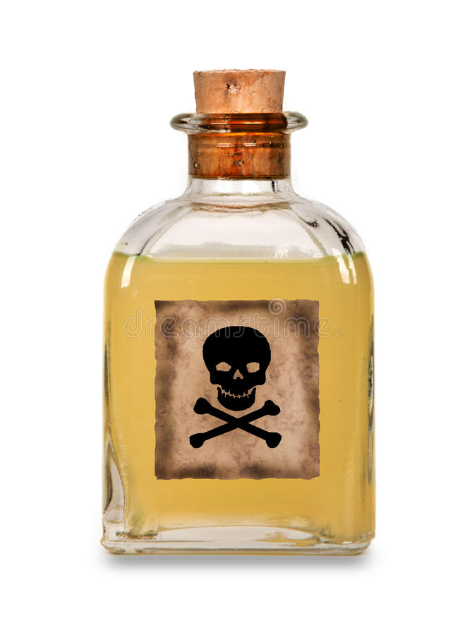 Glass bottle of poison royalty free stock photo