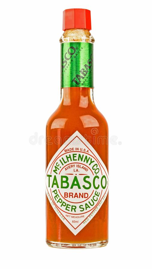 A glass bottle of red Tabasco chili sauce stock photo