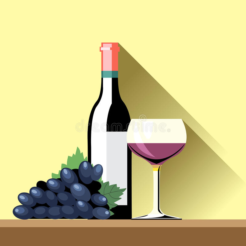 A glass and bottle of red whine royalty free illustration