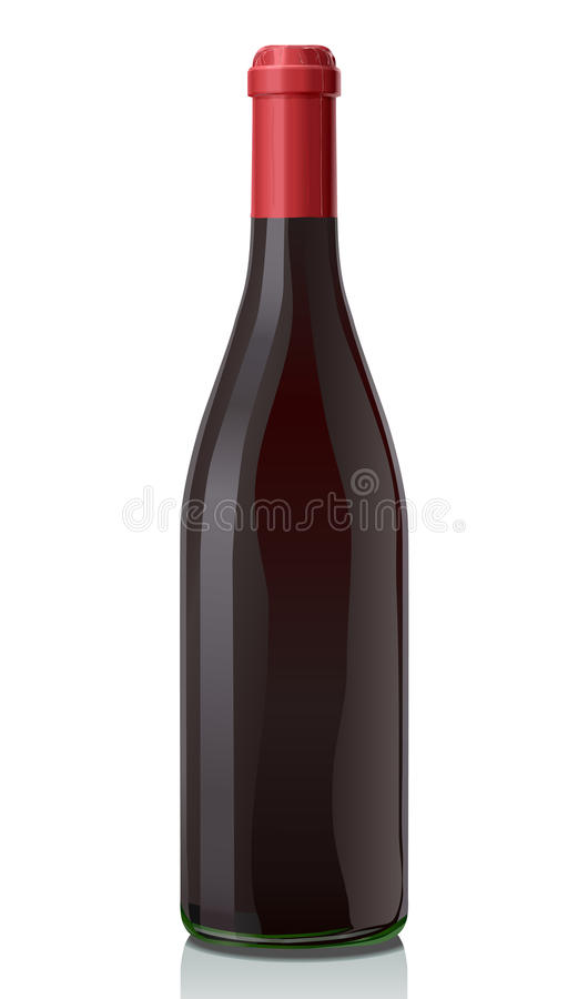 Glass bottle with red wine. stock image