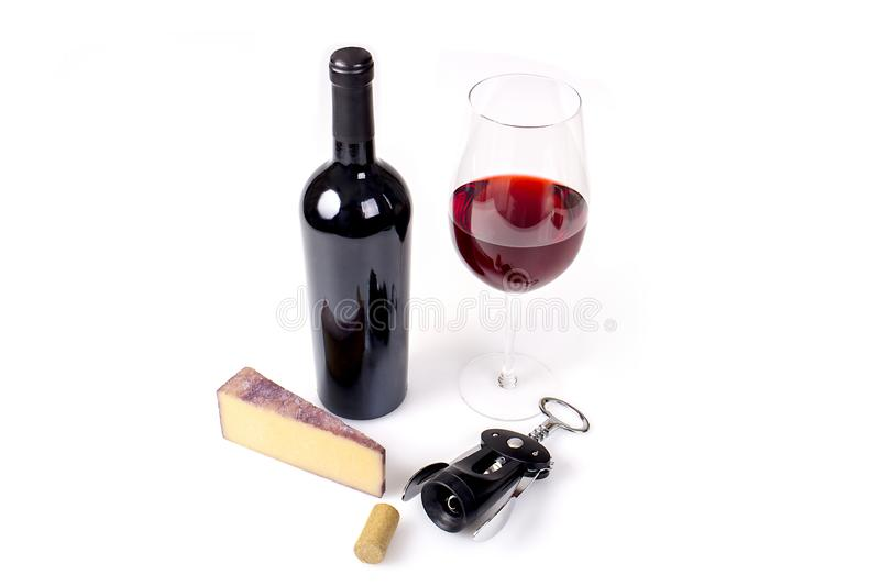 Glass And Bottle Of Red Wine With Wisconsin Cheese stock image