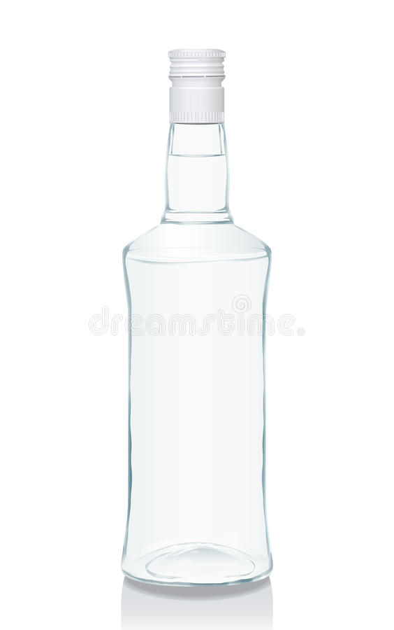 Glass bottle with Russian vodka. Vector illustration of a glass bottle with Russian vodka (serie of images stock illustration
