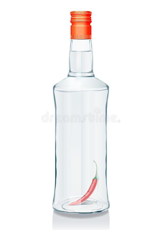 Download Glass Bottle With Russian Vodka Stock Vector - Image: 10840187