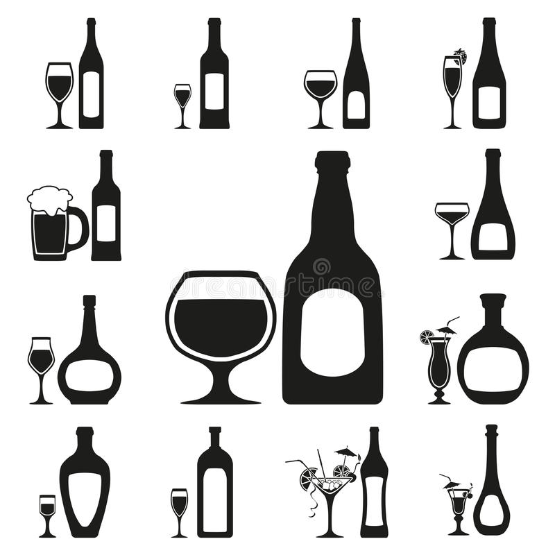 Download Glass and bottle set stock vector. Illustration of glass - 29928824