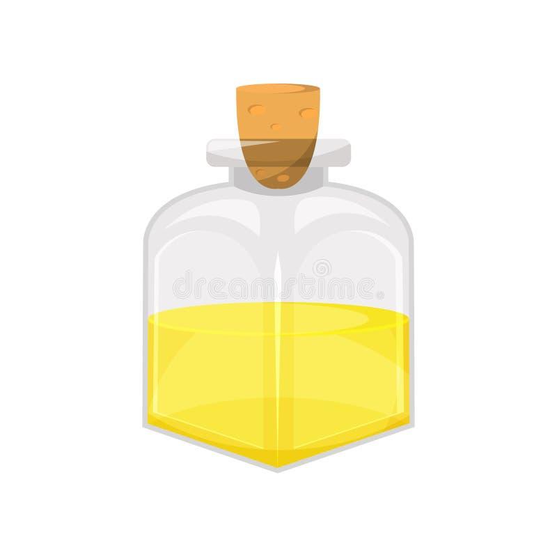 Glass bottle of vegetable food oil, organic healthy oil product cartoon vector Illustration stock illustration