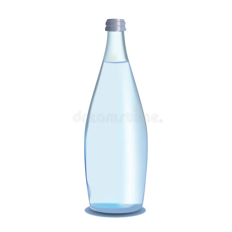 Glass bottle of water royalty free illustration