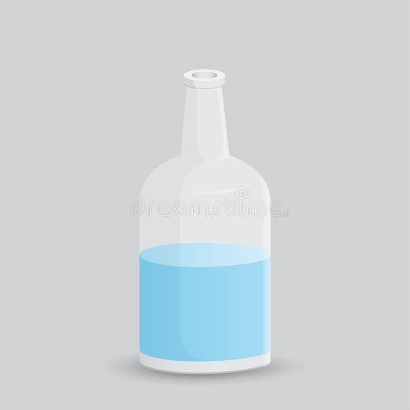 Glass bottle with water on a white background. Vector illustration bottle with a white label in your designs, pattern mock-up royalty free stock image