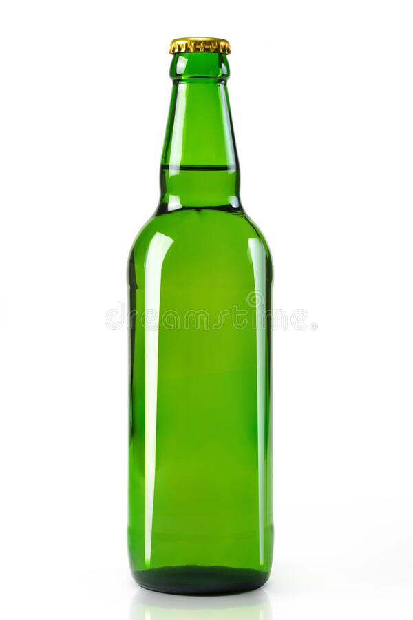 Glass bottle on white background close-up. alcohol, lemonade. Items close-up stock image