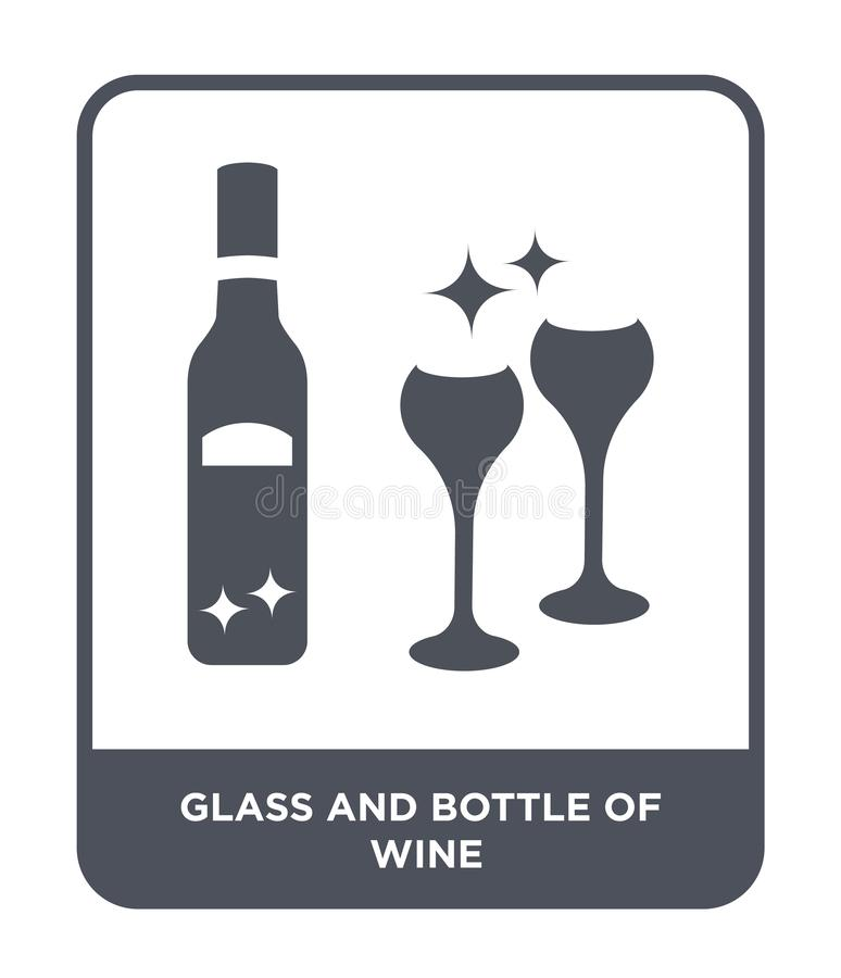 glass and bottle of wine icon in trendy design style. glass and bottle of wine icon isolated on white background. glass and bottle vector illustration