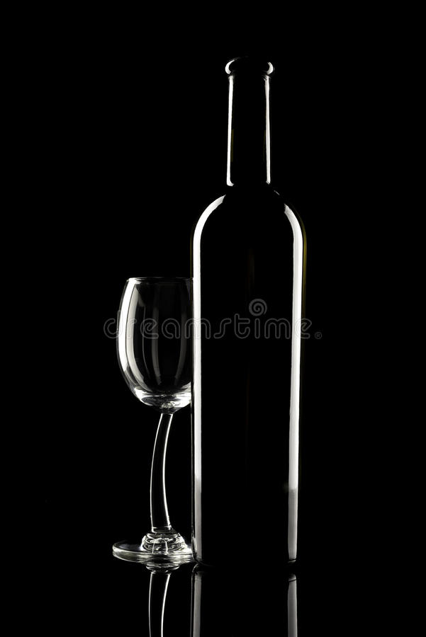 Glass and bottle of wine royalty free stock photo